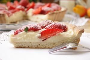 trozos de tarta de fresas