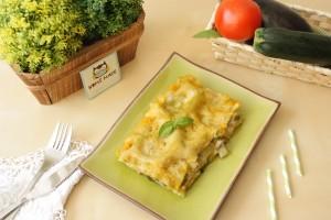 lasaña de verduras en crema de calabaza
